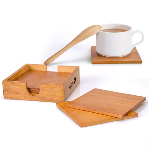 Wooden 5 In 1 Square Coaster