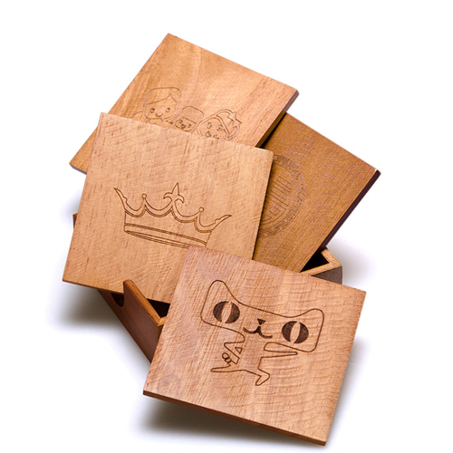 Wooden 5 In 1 Square Coaster Image 1