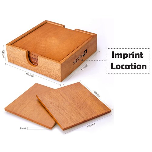 Wooden 5 In 1 Square Coaster Imprint Image