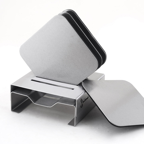 Stainless Steel Square Coaster Set With Stand