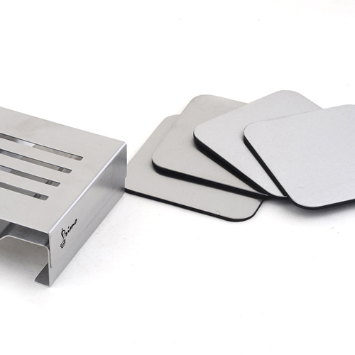 Stainless Steel Square Coaster Set With Stand Image 3