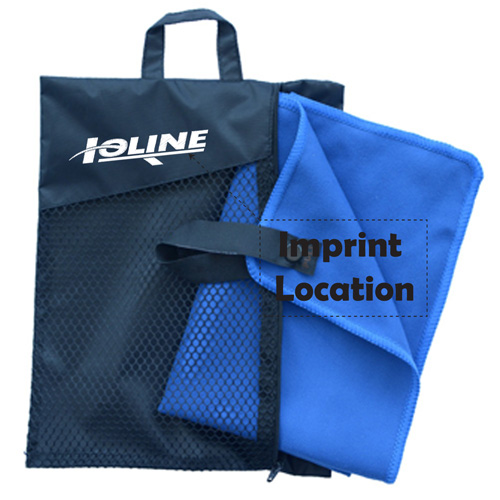 Microfiber Quick Drying Body Bath Towel with Carrying Bag Imprint Image