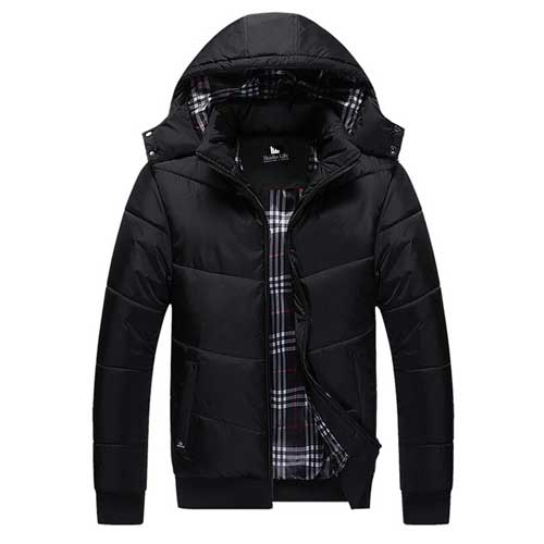 Thermal Plus Size Mens Jacket with Winter Hat