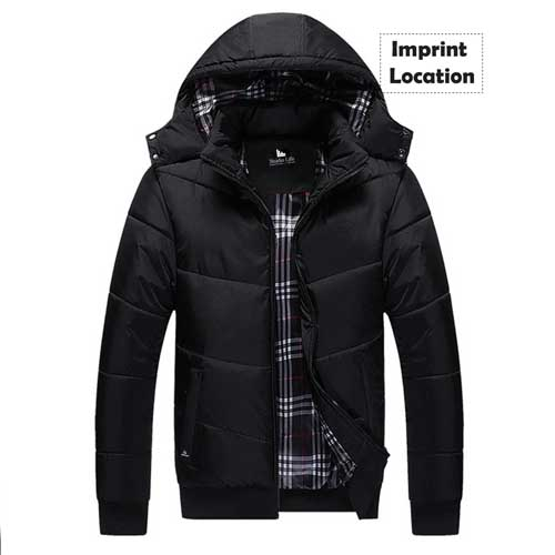 Thermal Plus Size Mens Jacket with Winter Hat Imprint Image