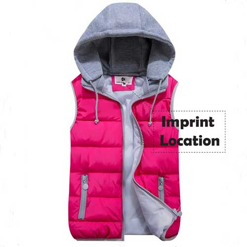 Womens Removable Hat Hooded Jacket Imprint Image