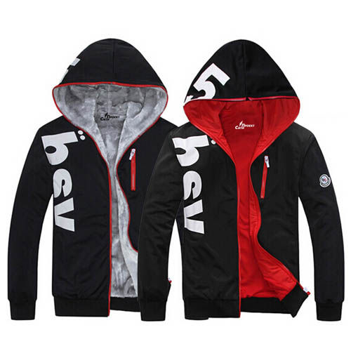 Fleece Lining Hoodies Male Coat Image 2