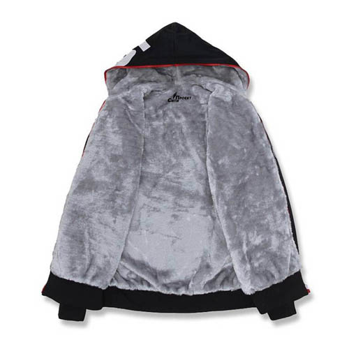 Fleece Lining Hoodies Male Coat Image 4