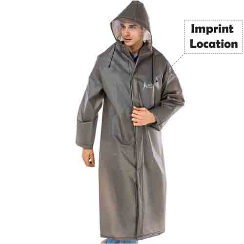 Long Raincoat Knee Length Imprint Image
