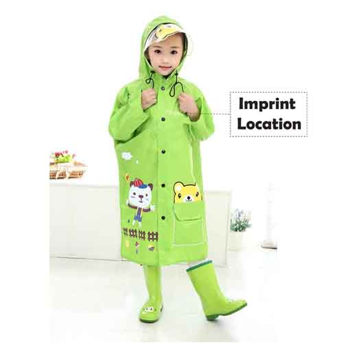 Young Girl Cartoon Raincoat Imprint Image
