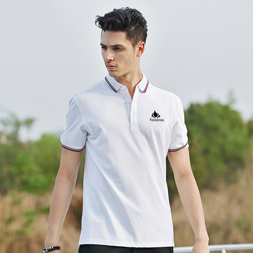 Mens Ribbed Collar Polo Shirt