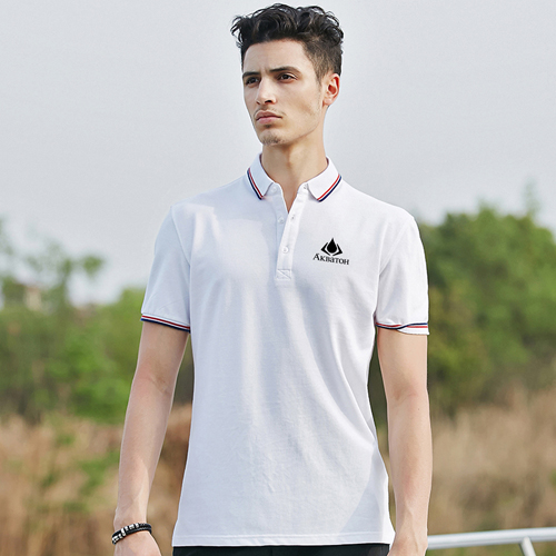 Mens Ribbed Collar Polo Shirt Image 1