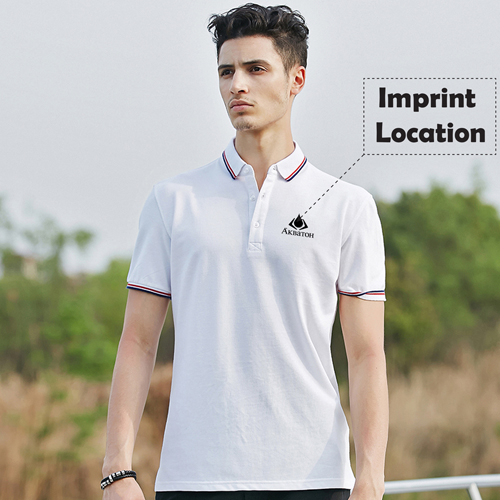 Mens Ribbed Collar Polo Shirt Imprint Image