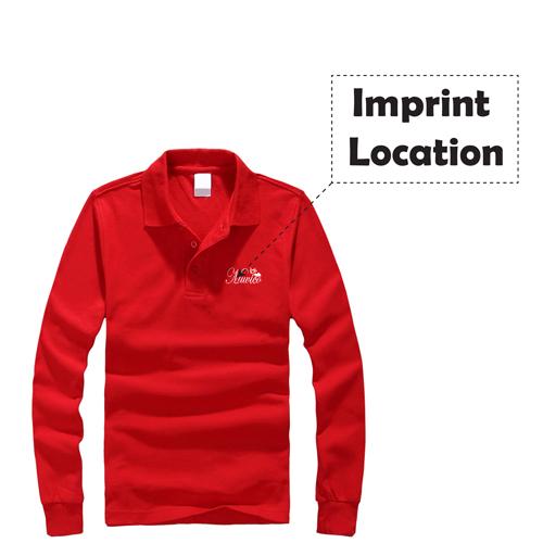Mens Long Sleeve Polo Shirt Imprint Image
