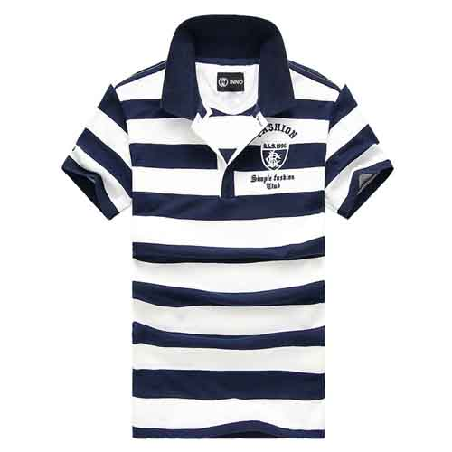 Stripe Lapel Short-Sleeved Polo Shirt