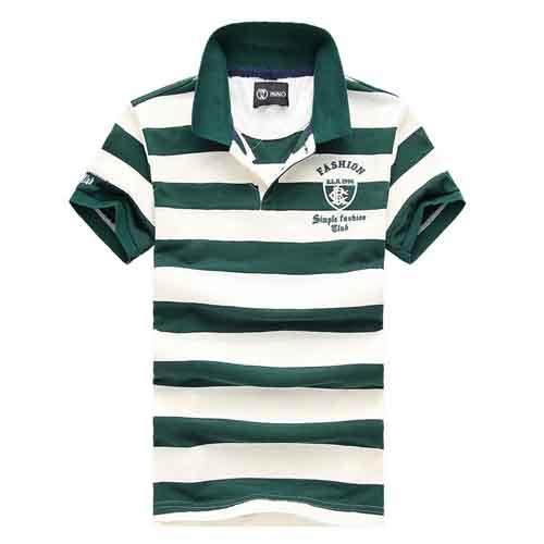 Stripe Lapel Short-Sleeved Polo Shirt Image 1