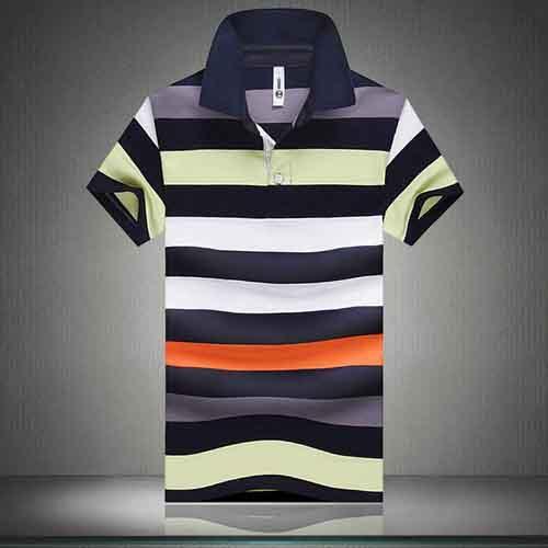 Stripe Lapel Short-Sleeved Polo Shirt Image 3