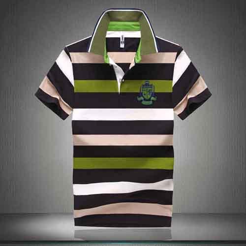 Stripe Lapel Short-Sleeved Polo Shirt Image 4