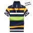 Stripe Lapel Short-Sleeved Polo Shirt Imprint Image