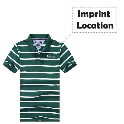 Classic Striped Polo Shirt Imprint Image