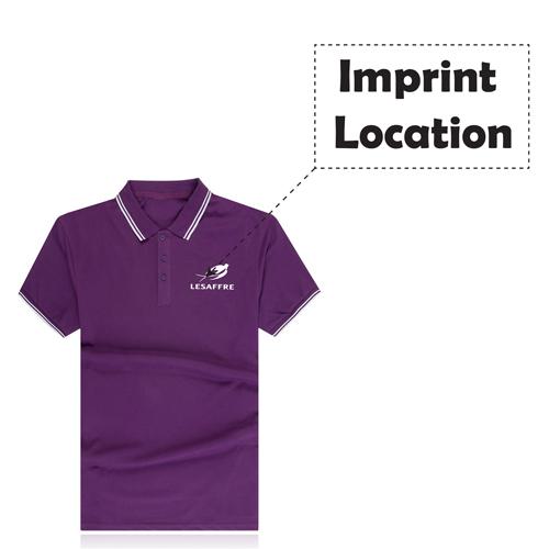 Striped Collar Polo Shirt Imprint Image