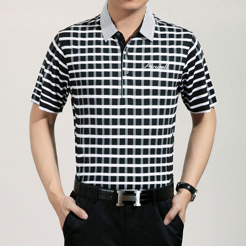Plaid Short Sleeve Polo T-Shirt