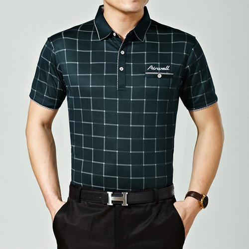 Plaid Short Sleeve Polo T-Shirt Image 1