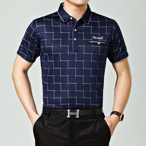 Plaid Short Sleeve Polo T-Shirt Image 3