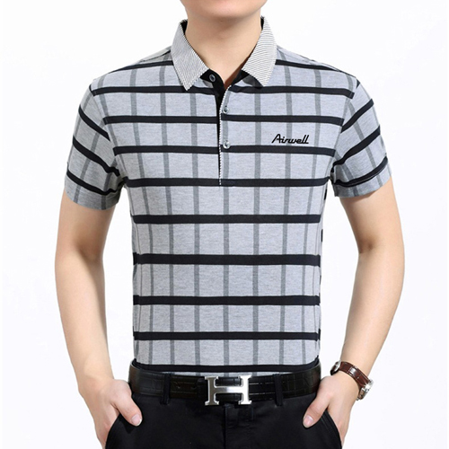 Plaid Short Sleeve Polo T-Shirt Image 4
