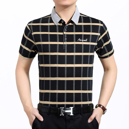 Plaid Short Sleeve Polo T-Shirt Image 5