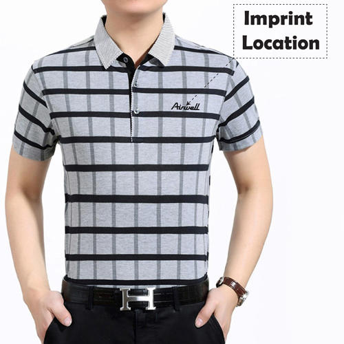 Plaid Short Sleeve Polo T-Shirt Imprint Image