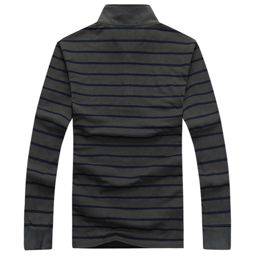 Striped Quarter-Zip Full Sleeve T-Shirt Image 1