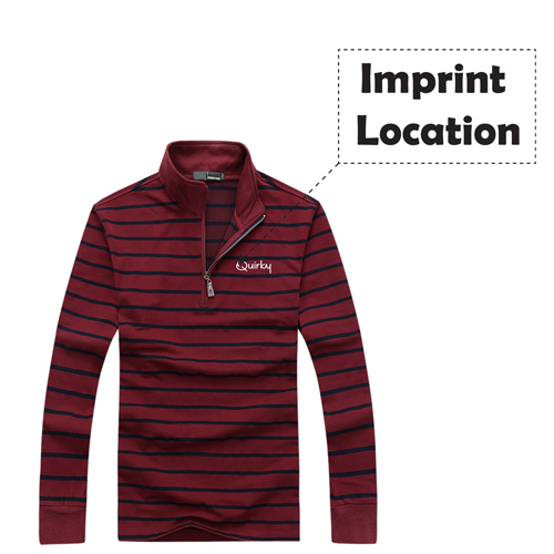 Striped Quarter-Zip Full Sleeve T-Shirt Imprint Image