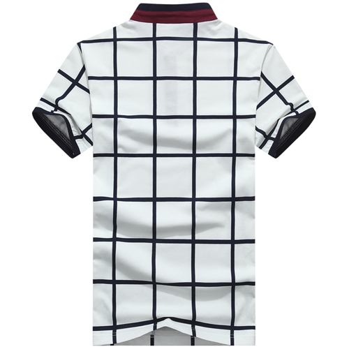 Mandarin Collar Plaid T-Shirt Image 1