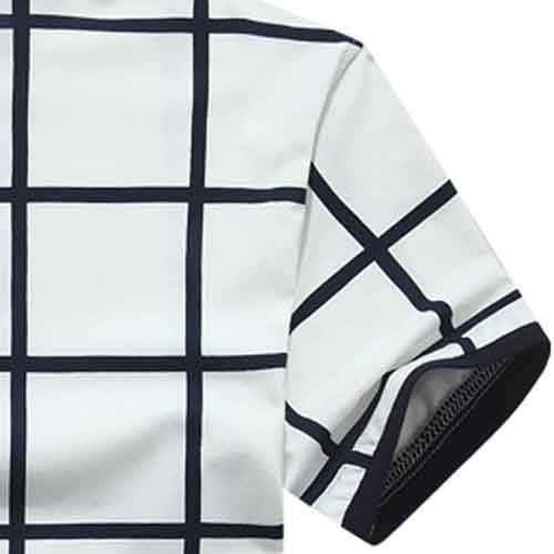 Mandarin Collar Plaid T-Shirt Image 2