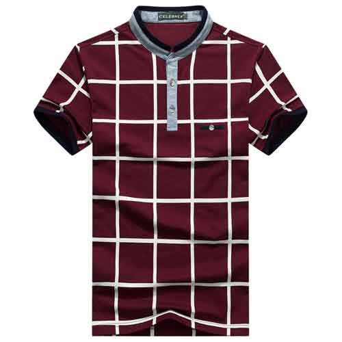 Mandarin Collar Plaid T-Shirt Image 4