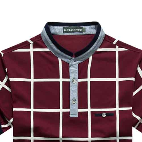 Mandarin Collar Plaid T-Shirt Image 5