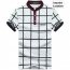 Mandarin Collar Plaid T-Shirt Imprint Image