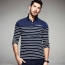 Lapel Stripes Long Sleeve Polo Shirt