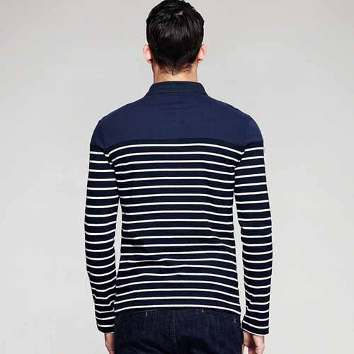 Lapel Stripes Long Sleeve Polo Shirt Image 1
