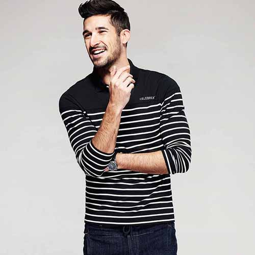 Lapel Stripes Long Sleeve Polo Shirt Image 2