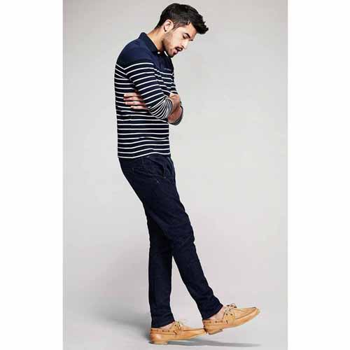 Lapel Stripes Long Sleeve Polo Shirt Image 4