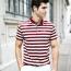 Stripe Cotton Short Sleeve Polo Shirt