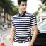 Stripe Cotton Short Sleeve Polo Shirt Image 1