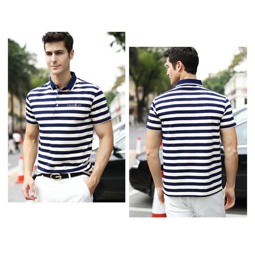 Stripe Cotton Short Sleeve Polo Shirt Image 2