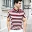 Stripe Cotton Short Sleeve Polo Shirt Imprint Image