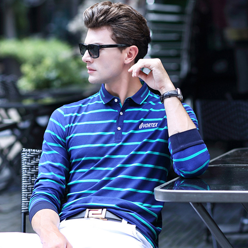 Mini Collar Striped Full Sleeve Mens T-Shirt