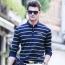 Mini Collar Striped Full Sleeve Mens T-Shirt Image 1