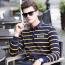 Mini Collar Striped Full Sleeve Mens T-Shirt Image 2