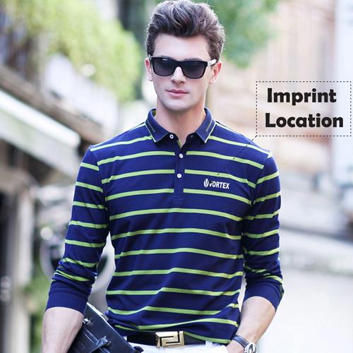 Mini Collar Striped Full Sleeve Mens T-Shirt Imprint Image