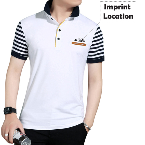 Slim Fit Striped Short Sleeve T-Shirt Imprint Image